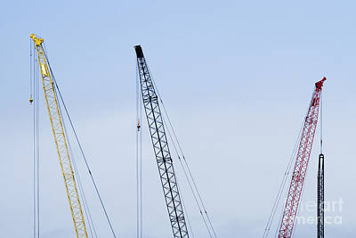 Tower Crane Photograph - Colorful Tower Cranes by Jeremy Woodhouse