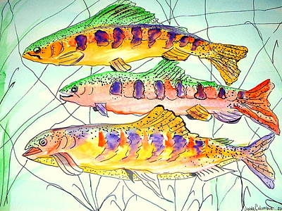 Painting - Colorful Trout by Janna Columbus