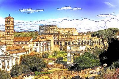 Abstract Skyline Mixed Media - Colosseum and roman forum by Stefano Senise