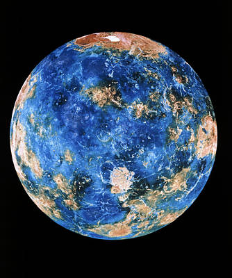 Coloured Radar Image Of Venus Hemisphere Art Print by Nasa