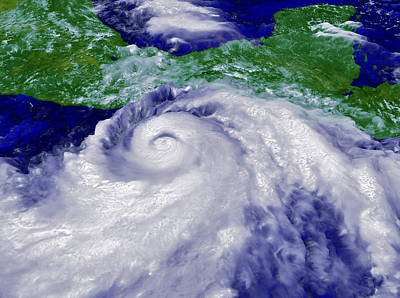 Coloured Satellite Image Of Hurricane Pauline Art Print
