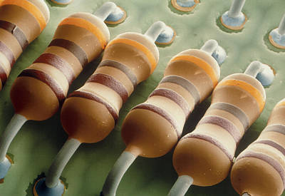 Integrated Photograph - Coloured Sem Of Resistors On A Circuit Board by Power And Syred
