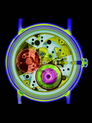 Coloured X-ray Of A 17-jewel Wrist-watch Art Print by D. Roberts