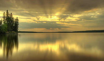 Prince Albert National Park Photograph - Colourful Sunrise On Waskesiu Lake In by Philippe Widling