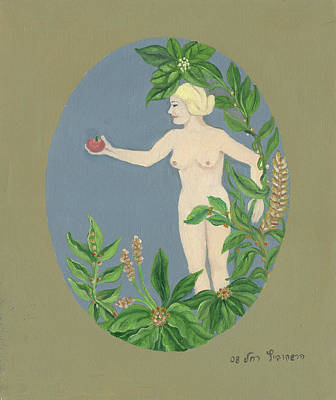 Painting - Come And Get It Eva Offers A Red Apple  To Adam In Green Vegetation Leaves Plants And Flowers Blond  by Rachel Hershkovitz