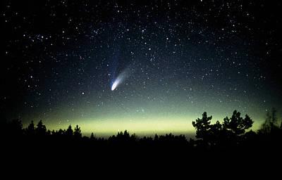 Hale-bopp Comet Photograph - Comet Hale-bopp And Aurora Borealis, 30 March 1997 by Pekka Parviainen