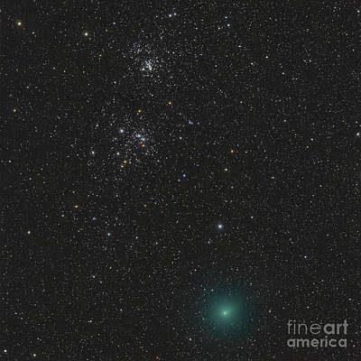 Comet Hartley 2 And The Double Cluster Art Print by Rolf Geissinger