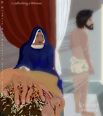 Loin-cloth Painting - Comforting A Witness by M R Garcia