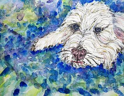 White Terrier Mixed Media - Comfy Spot by DJ Laughlin