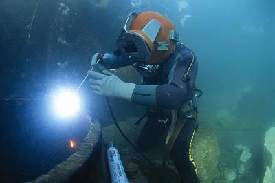 Arc Welder Photograph - Commercial Diver Welding by Alexis Rosenfeld