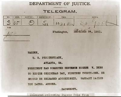 Commutation Of Eugene Debs Jail Art Print by Everett