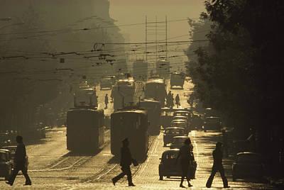 Commuters Cross Dondukov Street Print by James L. Stanfield