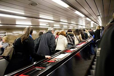 Commuters On Escalators In Prague Metro Art Print by Mark Williamson