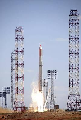 Flaming June Photograph - Comos Satellite Launch by Ria Novosti