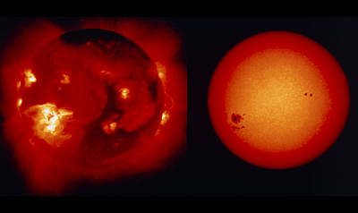 Whole Sun Photograph - Comparison Of Visible & X-ray Images Of Sun by Nasajisas