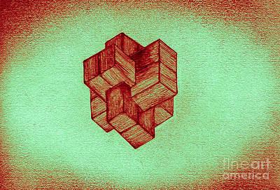 Wood Grain Drawing - Complicated Cube by Dan Julien