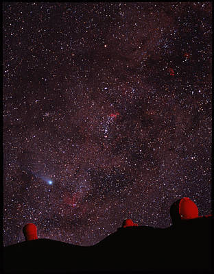 Composite Image Of Halley's Comet & Mauna Kea Art Print by Magrath Photographynielsen