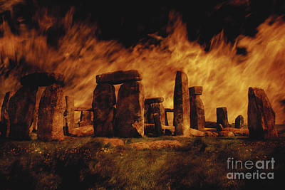 Megalith Photograph - Composite Image Of Stonehenge And Fire by Stocktrek Images