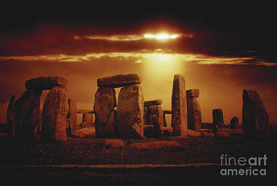 Megalith Photograph - Composite Of A Sunset Over Stonehenge by Stocktrek Images