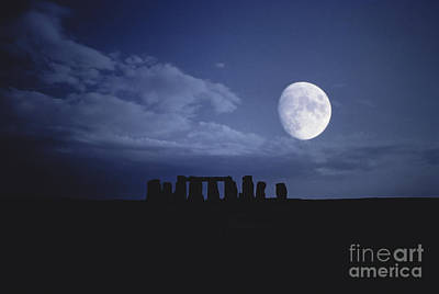 Digital Enhancement Photograph - Composite Of The Moon Over Stonehenge by Stocktrek Images