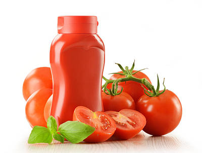 Composition With Ketchup And Fresh Tomatoes Isolated On White Original