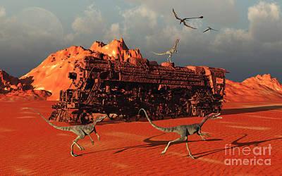 Animal Tracks Digital Art - Compsognathus Dinosaurs by Mark Stevenson