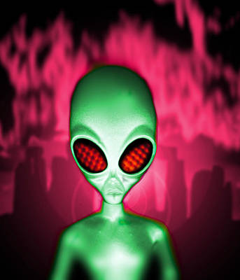 Computer Artwork Of An Alien Or Extraterrestrial Art Print by Victor Habbick Visions