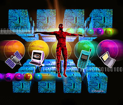 Computer Artwork Of Global Computer Communications Art Print by Victor Habbick Visions