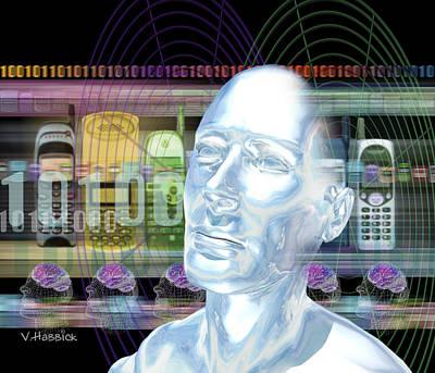 Computer Artwork Of Man's Head With Mobile Phones Art Print