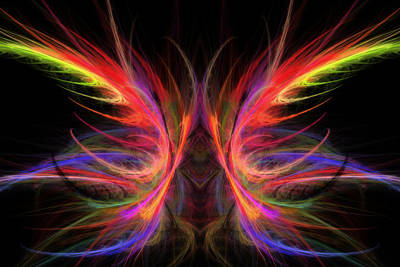 Butterfly Abstraction Photograph - Computer Generated Abstract Butterfly Fractal Flame Art by Keith Webber Jr