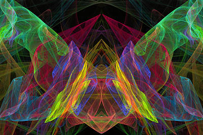 Butterfly Abstraction Digital Art - Computer Generated Abstract Butterfly Fractal Flame Modern Art by Keith Webber Jr