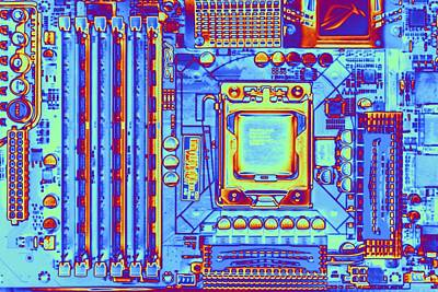 Mother Board Photograph - Computer Motherboard With Core I7 Cpu by Pasieka
