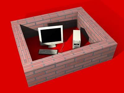 Computer Protection, Computer Artwork Art Print by Christian Darkin