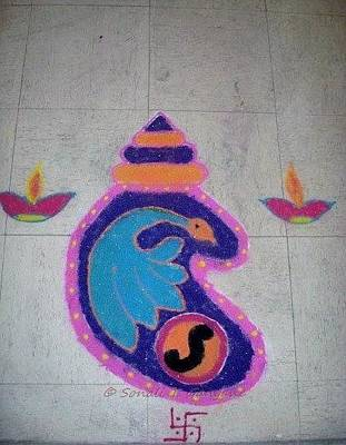 Mixed Media Royalty Free Images - Conch Design rangoli Royalty-Free Image by Sonali Gangane