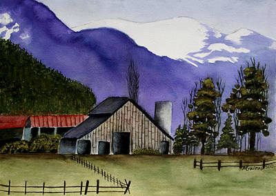 Concrete Barn Watercolor Art Print by Mary Gaines