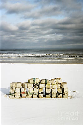 Concrete Bricks On A Snowy Beach Art Print