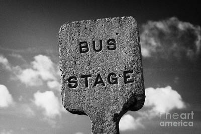 Busstop Photograph - Concrete Northern Ireland Road Transport Board 1935 1948 Bus Stage Stop Road Sign  by Joe Fox