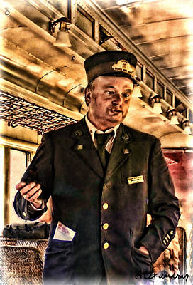 Photograph - Conductor On Old Fashion Train by Alexandra Jordankova