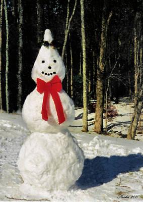 Photograph - Conehead Snowman by Kristin Elmquist
