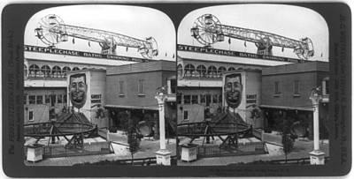 Coney Island, Stereo Photograph Art Print by Everett