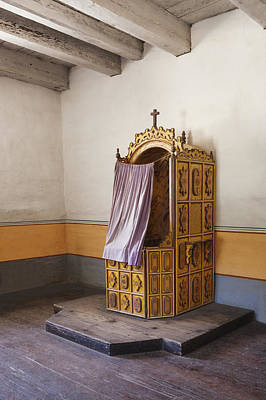 Confession Photograph - Confessional Booth In Sanctuary At by Douglas Orton