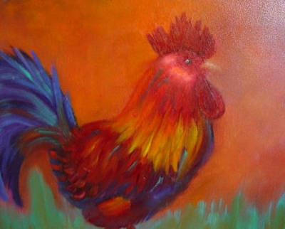 Confident Rooster Art Print by Margaret Harmon