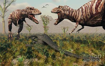 Carcass Digital Art - Confrontation Between A Pair Of T. Rex by Mark Stevenson
