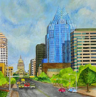 Painting - Congress Avenue Austin Texas by Manny Chapa