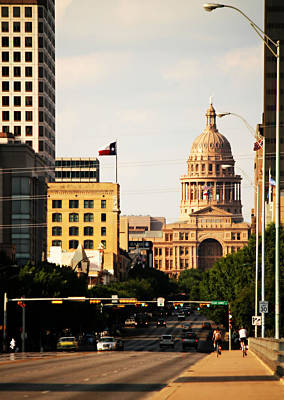 Frost Bank Building Photograph - Congress Avenue In Austin And Texas State Capitol Building by Sarah Broadmeadow-Thomas