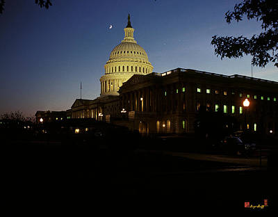 Photograph - Conjunction Of Moon Venus And Jupiter Over The U S Capitol 15q by Gerry Gantt