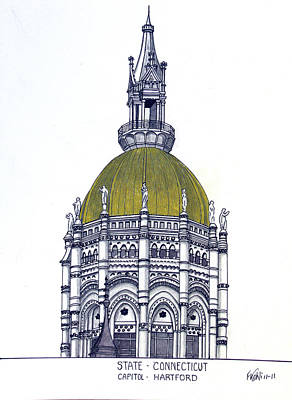 Drawing - Connecticut State Capitol by Frederic Kohli