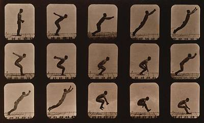 Consecutive Images Of A Man Leaping Art Print