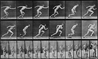 Running Man Photograph - Consecutive Images Of A Man Running by Everett