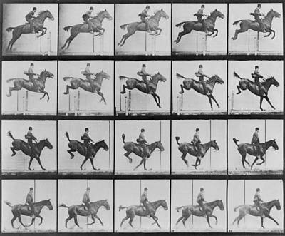 Consecutive Images Of Man Riding Art Print